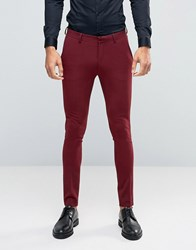 Asos Super Skinny Suit Trousers In Cherry Red Rust Tan