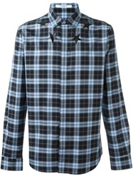 Givenchy Star Print Checked Shirt Blue
