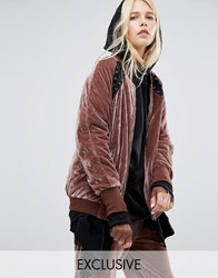 Story Of Lola Slouchy Bomber With Lace Detail In Velour Rose Pink