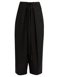 Isabel Marant Pleated Overlay Self Fastening Cropped Trousers Black