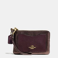 Coach Corner Zip Wristlet In Colorblock Leather Light Gold Oxblood Bronze