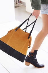 Bdg Myles Suede Colorblock Tote Bag Brown