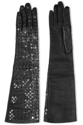 Rick Owens Sequined Leather Gloves Black