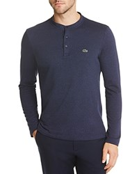 Lacoste Textured Spotted Long Sleeve Henley Tee Cosmos