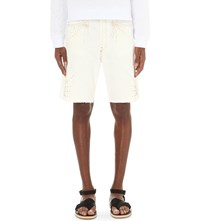 Dries Van Noten Parsons Embellished Denim Shorts Whi