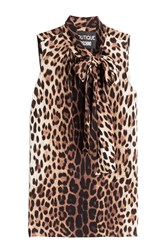 Boutique Moschino Leopard Print Sleeveless Blouse Animal Prints