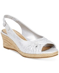 Bella Vita Sangria Too Espadrille Platform Wedge Sandals Women's Shoes White Silver