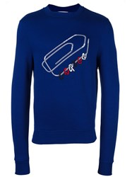 Carven Embroidered Paper Clip Sweatshirt Blue