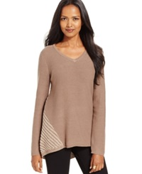 Style And Co. Contrast Knit V Neck Sweater Only At Macy's New Rye Tea Biscuit