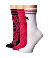 Adidas Adipalm 3 Pack Crew Black Shock Pink White Bold Pink Women's Crew Cut Socks Shoes Multi