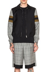 Kris Van Assche Contrast Panel Zip Jacket In Black Checkered And Plaid Gray