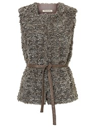 Betty Barclay Faux Fur Gilet Grey Taupe