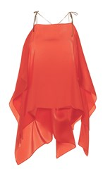 Alexis Mabille Open Shoulder Scarf Top Coral
