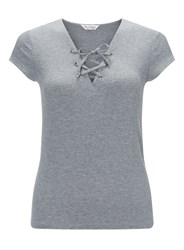 Miss Selfridge Grey Shortsleeve Lace Up Top