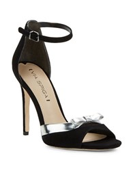 Via Spiga Tallulah Suede Open Toe Pumps Black Silver