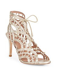 Joie Leah Metallic Leather Lace Up Sandals Light Gold