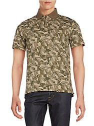 Victorinox Abstract Camo Print Polo Shirt Moss Green