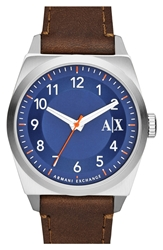 Armani Exchange Leather Strap Watch 42Mm Brown Navy