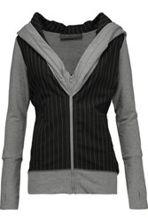 Norma Kamali Striped Stretch Jersey Hooded Top Anthracite