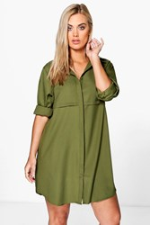 Boohoo Collette Woven Shirt Dress Khaki