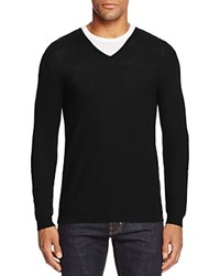 Bloomingdale's The Men's Store At Extrafine Merino Wool Pique Stitch V Neck Sweater Black