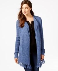 G.H. Bass And Co. Fringed Open Front Cardigan Heather Blue