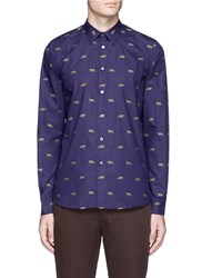 Paul Smith Leopard Embroidered Shirt Purple