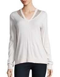 T Tahari Lace Trimmed V Neck Sweater Pink Tint