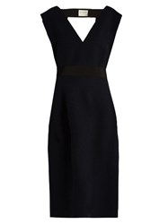 Maison Rabih Kayrouz V Neck Wool Felt Midi Dress Navy