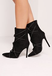 Missguided Knotted Rope Ankle Boot Black