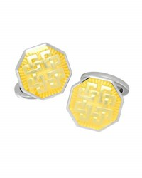 Jan Leslie Thread Pattern Enamel Octagon Cuff Links Yellow