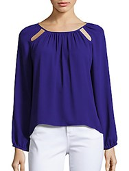 Collective Concepts Solid Cutout Blouse Cobalt