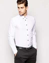 Smart Shirt In Long Sleeve With Button Down Collar And Contrast Buttons White
