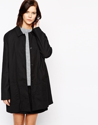 Mbym Tailored Longline Coat With Collar 880Black