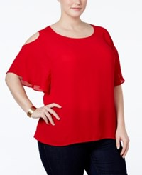 Ny Collection Plus Size Cold Shoulder Chiffon Blouse Fiery Red