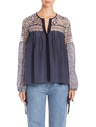 Chloe Printed Lace Detail Henley Blouse Navy
