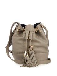 See By Chloe Vicki Medium Leather Cross Body Bucket Bag Light Grey