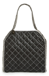 Stella Mccartney 'Small Falabella' Quilted Vegan Leather Tote Black Silver