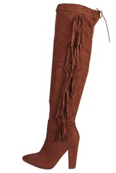 Boohoo Fringe Back Knee Boot Tan