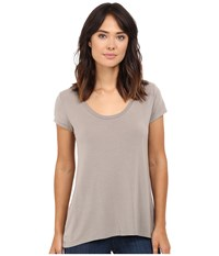 Heather Scoop Neck Tee Birch Women's Short Sleeve Pullover Brown