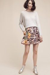Anthropologie Lingering Mini Skirt Black Motif