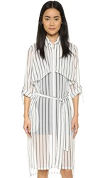 J.O.A. Stripe Shirtdress Ivory