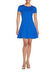 Halston Ponte Knit Fit And Flare Dress Bright Cobalt