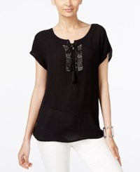 Ny Collection Lace Up Beaded Peasant Top Jet Black