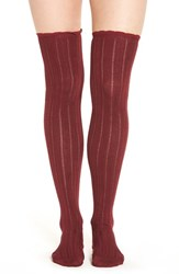 Urban Outfitters Women's Free People 'All For One' Pointelle Knit Over The Knee Socks Wine