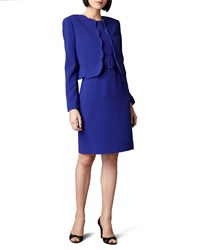 Albert Nipon Scallop Jacket And Dress Blue