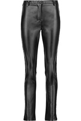 Maje Stretch Lace Trimmed Faux Leather And Jersey Leggings Black