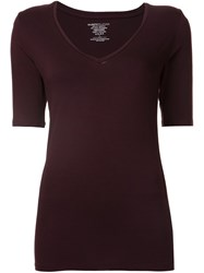 Majestic Filatures V Neck T Shirt Red