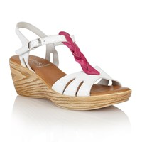 Lotus Parmaggiano Wedge Sandals White