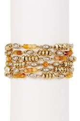 Lucky Brand Citrine And 7Mm Pearl Link Bracelet Metallic